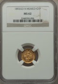 Mexico, Mexico: Republic gold Peso 1892 Go-R MS62 NGC,...