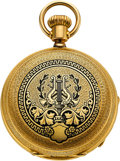 Timepieces:Pocket (pre 1900) , Doret Very Fine Victorian 18k Gold & Enamel Hunters Case, circa1880's. ...