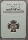 Mexico, Mexico: Republic 1/2 Real 1849 Ga-JG MS64 NGC,...
