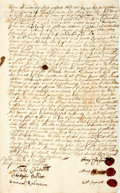 "Autographs:Statesmen, 17th Century Salem Land Deed. One page, 7.5"" x 12.5"", Salem[Massachusetts], April 23, 1695. This land deed transferring""..."