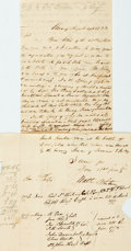 "Autographs:Military Figures, [Revolutionary War]. Letter Regarding the Service of a Veteran. Two pages of one leaf, 5"" x 7.5"", Albany, August 19, 1833, c..."