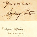 "Autographs:Authors, Two Authors Signatures: Sydney Porter and Rudyard Kipling. Porterwrites, ""Yours as ever / Syndey Porter"" and Kiplin...(Total: 2 Items)"