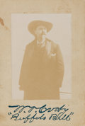 """Autographs:Celebrities, William """"Buffalo Bill"""" Cody Cabinet Photograph With a StampedSignature. 3.5"""" x 5"""" featuring the Wild West entertainer in a ..."""