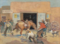 Works on Paper, OSCAR EDWARD BERNINGHAUS (American, 1874-1952). Horse Shoeing at the Blacksmith's, circa 1945. Watercolor and gouache on... (Total: 2 Items)
