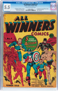Golden Age (1938-1955):Superhero, All Winners Comics #1 (Timely, 1941) CGC FN- 5.5 Cream to off-white pages....