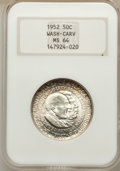 Commemorative Silver: , 1952 50C Washington-Carver MS64 NGC. NGC Census: (1688/1598). PCGS Population (2371/1702). Mintage: 2,006,292. Numismedia W...
