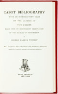 Books:Reference & Bibliography, Winship, George Parker. Cabot Bibliography, With An IntroductoryEssay on Careers of the Cabots... New York: Bur...