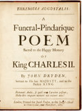 Books:Literature Pre-1900, Dryden, John. Threnodia Augustalis: A Funeral-Pindarique PoemSacred to the Happy Memory Of King Charles II. London:...
