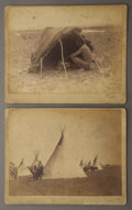 """Photography:Official Photos, OUTDOOR RESERVATION PHOTOGRAPHS - CROW AGENCY, MONTANA, ca 1880-1890. Two terrific 9.25"""" x 7"""" albumen images of life on the ... (Total: 1 Item)"""