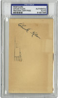 Autographs:Post Cards, 1942 Chuck Klein Signed Government Postcard, PSA Authentic. 1932's National League MVP offers a top-notch example of his fo...