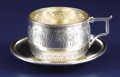 Silver Holloware, American:Cups, An American Silver Cup and Saucer. Gorham Manufacturing Co.,Providence, Rhode Island. Circa 1875. Silver and silver gilt...(Total: 2 Items)