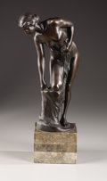 Sculpture, Bather Looking into a Pool. . Rudolf Kaesbach, German (1873-1950). Bronze with black patination. Marks: Signed . 13 ...