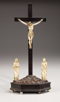 Decorative Arts, Continental:Other , A Continental Carved Ivory and Wood Crucifixion Group. . Circa 18thCentury. Ivory and wood. 14.5 inches in height. ...