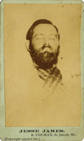 Photography:CDVs, UHLMAN CARTE DE VISITE OF JESSE JAMES IN DEATH 1881. In life, Jesse James was a Confederate raider turned notorious bank rob... (Total: 1 Item)