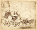 "Photography:Cabinet Photos, FABULOUS PHOTO OF THE DEADWOOD COACH, Copyright by Crabhill, 1889.This 10"" x 8"" image depicts the Deadwood Stage, loaded wi...(Total: 1 Item)"