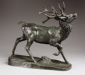 Sculpture, Ten Point Stag. . Barye. Bronze with greenish black patination. Incised: Barye. 18 inches high x 19 inches in length. ...