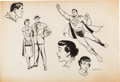 Original Comic Art:Illustrations, Kurt Schaffenberger Superman's Girl Friend, Lois Lane Try-Out Page Illustration Original Art (1957).... (Total: 2 Items)