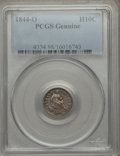 Seated Half Dimes, 1844-O H10C -- Damage -- PCGS Genuine. The PCGS number ending in .98 suggests Damage as the reason, or perhaps one of the r...