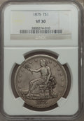 Trade Dollars: , 1875 T$1 VF30 NGC. NGC Census: (3/97). PCGS Population (4/116).Mintage: 218,200. Numismedia Wsl. Price for problem free NG...