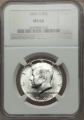 Kennedy Half Dollars: , 1969-D 50C MS66 NGC. NGC Census: (109/4). PCGS Population (128/6).Mintage: 129,881,800. Numismedia Wsl. Price for problem ...