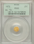 California Fractional Gold: , 1872 25C Indian Octagonal 25 Cents, BG-791, R.3, MS62 PCGS. PCGSPopulation (41/189). NGC Census: (9/49). ...