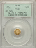 California Fractional Gold: , 1854 50C Liberty Octagonal 50 Cents, BG-306, R.4, MS61 PCGS. PCGSPopulation (7/69). NGC Census: (5/16). ...