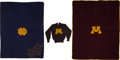 Autographs:Bats, 1955-1980 Herb Brooks University of Minnesota Sweater & Blanket and 1980 Notre Dame Blanket Lot of 3....
