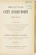 Books:Americana & American History, Seattle City Directory for 1894-1895. Seattle: Polk'sSeattle Directory, [1894]. Original cloth binding. Joints broken....