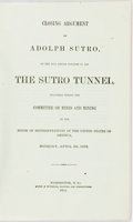 Books:Americana & American History, [Adolph Sutro] Closing Argument of Adolph Sutro on the Billbefore Congress to Aid the Sutro Tunnel...Washington, D....