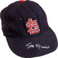 Baseball Collectibles:Uniforms, Early 1960's Stan Musial Game Worn St. Louis Cardinals Cap with Musial Family Letter....