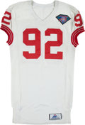 Football Collectibles:Uniforms, 1994 Michael Strahan Game Worn New York Giants Durene Jersey and Pants - Originally Displayed in Giants Legacy Club....