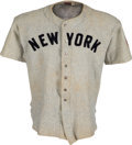 Baseball Collectibles:Uniforms, 1941-42 Joe Gordon Game Worn New York Yankees Jersey, MEARS A8....