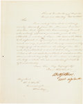 Autographs:Military Figures, [Mexican War]. Assistant Adjutant General William W. S. Bliss Letter Signed with a General William J. Worth Autograph Endorsem...