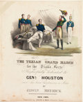 """Miscellaneous:Booklets, [Sam Houston]. Edwin Meyrick's """"Texian Grand March' for the Piano Forte"""" Songsheet...."""