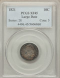 Bust Dimes, 1821 10C Large Date XF45 PCGS. PCGS Population (19/143). NGCCensus: (13/131). Mintage: 1,186,512. Numismedia Wsl. Price f...