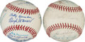 Autographs:Baseballs, Early 1970's HOF & Superstar Multi Signed Baseballs Lot of 2....