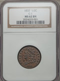 Half Cents, 1832 1/2 C C-1, B-1, R.2, MS62 Brown NGC. NGC Census: (3/8). PCGSPopulation (1/2). Mintage: 154,000. ...