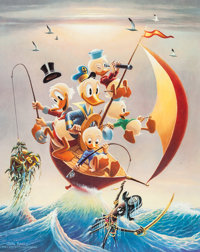 Carl Barks Sailing the Spanish Main Limited Edition Lithograph Print #9/245 (Another Rainbow, 1982)