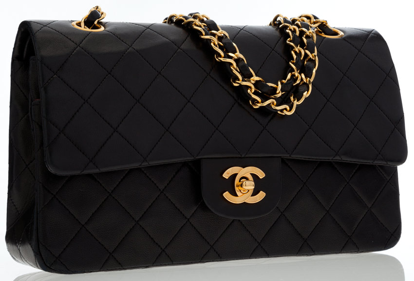 fe6acf618dbd Chanel Black Quilted Lambskin Leather Medium Double Flap Bag