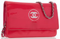 Luxury Accessories:Bags, Chanel Pink Patent Leather Wallet on Chain with Silver Hardware ....
