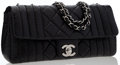 Luxury Accessories:Bags, Chanel Black Perforated Lambskin Leather East-West Flap Bag withSilver Hardware . ...