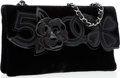 Luxury Accessories:Bags, Chanel Black Velvet Camellia No. 5 Clutch Bag with Silver Hardware....