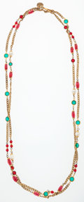 Luxury Accessories:Accessories, Chanel Gold Necklace with Red & Green Gripoix Beads and GlassPearls . ...