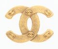 Luxury Accessories:Accessories, Chanel Gold CC Brooch . ...