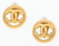 Luxury Accessories:Accessories, Chanel Gold Circular CC Earrings . ...