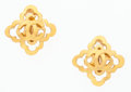 Luxury Accessories:Accessories, Chanel Gold Quatrefoil CC Earrings . ...