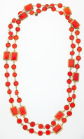Luxury Accessories:Accessories, Chanel Red Crystal & Gold Sautoir Necklace . ...