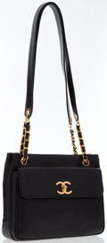 Luxury Accessories:Bags, Chanel Black Caviar Leather Shoulder Bag with Gold Hardware . ...