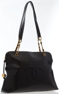 Luxury Accessories:Bags, Chanel Black Caviar Leather Large CC Tote Bag with Gold Hardware ....