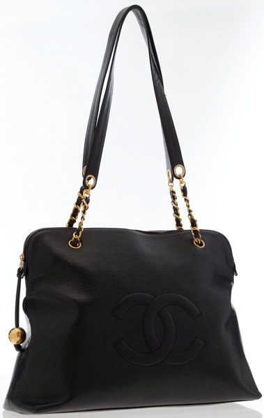 ec726d9dcc2e0f ... Luxury Accessories:Bags, Chanel Black Caviar Leather Large CC Tote Bag  with Gold Hardware ...